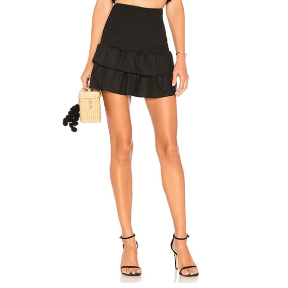 MAJORELLE Dresses & Skirts - Majorelle Peaches Black Ruffle Skirt Sz. S